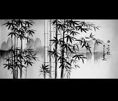 feng shui bamboo painting canvas art japanese modern wall decor