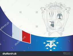 Antarctic Flag Flag French Southern Antarctic Lands Template Stock Vector