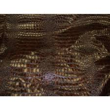 Alligator Upholstery Chocolate Metallic Embossed Big Scales Crocodile Pattern