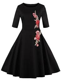vintage dresses vintage dresses black 2xl flower embroidered fit and flare vintage