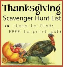 thanksgiving scavenger hunt item list