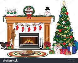 christmas scene christmas tree stockings presents stock vector