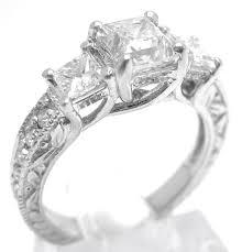 princess cut three stone antique style diamond engagement ring