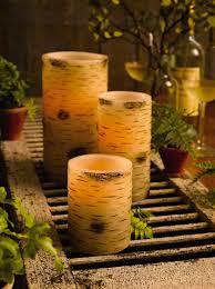 halloween flameless candles flameless led pillar candles timer real wax birch bark design
