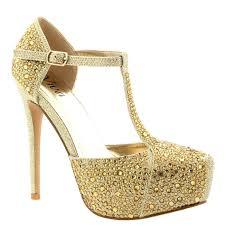 Wedding Shoes Kl Womens Wedding Stiletto Diamante T Strap Platform Prom Evening
