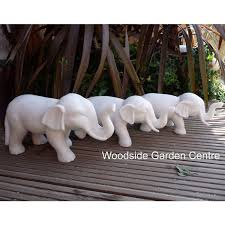 enigma large white elephant resin marble garden ornament