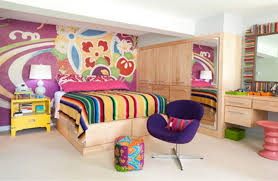 Bright Bedroom Ideas Bright Color Design With Purple Swivel Chair For Funky Bedroom
