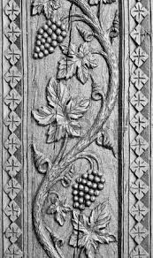 pattern of flower carved on wood background stock photo picture