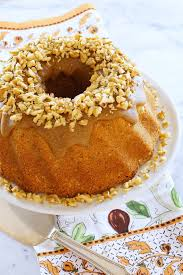 pound cake with walnuts and brown sugar glaze u2013 honest cooking