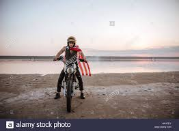 Usa Flag Cape Young Brutal Man In Golden Helmet And American Flag Cape Driving