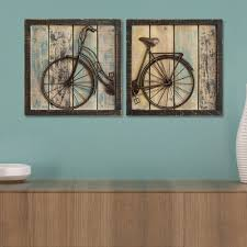 home decor distressed bicycle wall decor 2 piece set