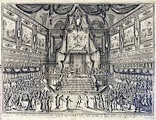 Illustration depicting the audience of Hac   H  seyin Efendi and his retinue by Carlo di Borbone  King of Naples and the Two Sicilies  r  Don Juan Archiv Wien
