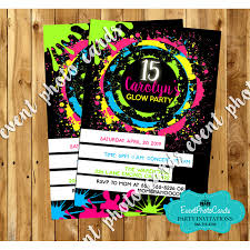 quinceanera party invitations neon glow sweet 15 invites quinceanera birthday invitations