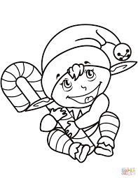 cute christmas elf with candy cane coloring page free printable