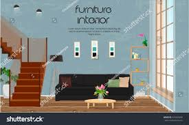 furniture interior design living room sofa stock vector 641844268