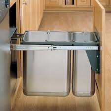 Kitchen Cabinet Garbage Drawer Cabinets U0026 Storages Grey Pull Out Stainless Steel Trash Bin Light