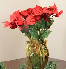 24 artificial poinsettia potted plant with gold foil