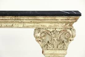 Stone Sofa Table Marble Top Hall Console Or Sofa Table Classical Faux Stone Base