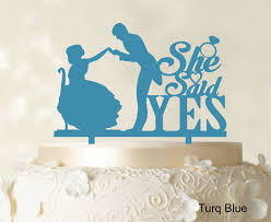 name cake topper she said yes wedding cake topper custom name cake topper