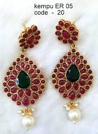 kempu earrings saraswati jewellery