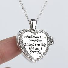 floating heart pendant necklace images Fashion open heart pendant letter pendant necklace quot with you i am jpg