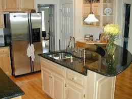 kitchen room design beige wooden curved kitchen island black