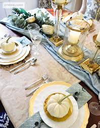 citrineliving gold and aqua thanksgiving table