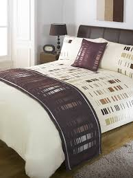 5 piece chocolate brown staten bed runner cushion cover duvet