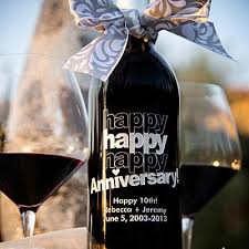 anniversary wine bottles happy anniversary etched wine etchedwine