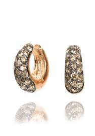 diamond huggie earrings garavelli pave brown diamond huggie earrings oster jewelers