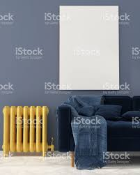 Living Room With Blue Sofa Mock Up With Blue Sofa And Yellow Radiator Stock Photo 614529972