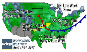 Snow Map Usa by Workweek Weather More 80 Degree Weather Rainfall Possible Wtop
