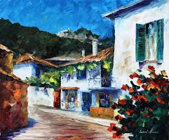 Paint House House On The Hill U2014 Palette Knife Oil Painting On Canvas By Leonid