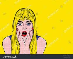 roy lichtenstein vector pop surprised blond stock vector 488787778