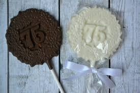 Favors For 75th Birthday by 75th Birthday Chocolate Lollipops 75th Birthday Favor