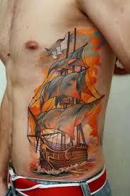 sailing ship side tattoo i fucking love tattoos