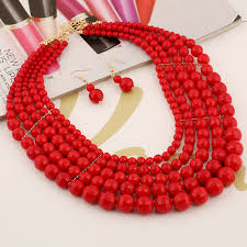 red fashion necklace images 2015 new design bohemia fashion bead layers accessories red stone jpg