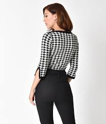 houndstooth blouse banned black white houndstooth sleeved izzy sweater top unique