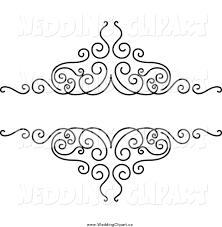 wedding design vector marriage clipart of a black and white swirl wedding design