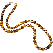 bead necklace clasp images Tigers eye bead necklace with 14k gold clasp sold ruby lane jpg