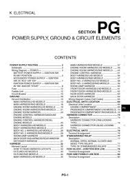 2005 nissan x trail power supply ground circuit elements