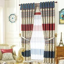 Blue And Yellow Curtains Prints American Style Blackout Curtain Print With Star Pattern For Kids