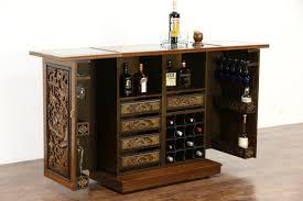 Asian Bar Cabinet Sold Teak Marble Carved Vintage Bar Cabinet Folding