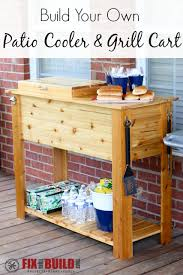 how to build a patio cooler and grill cart combo diy patio