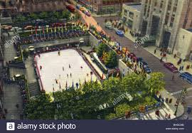 the rockefeller plaza outdoor ice skating rink new york city new