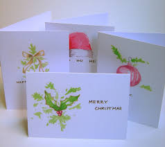christmas cards printed with watercolor designs set of four