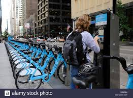 divvy chicago map divvy rental bikes in downtown chicago illinois stock
