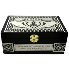 custom celtic claddagh box black wooden claddagh jewelry