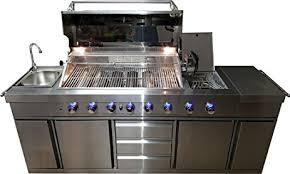 kitchen island grill amazon com 3 in 1 stainless steel outdoor bbq kitchen island