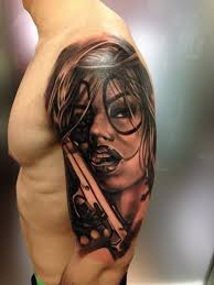 great shoulder tattoos style colored shoulder tattoo of clown woman with